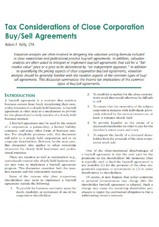 Buy Sell Tax Agreements