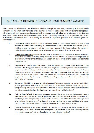 Buy sell Checklist for Business Owners