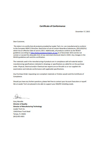 Certificate of Conformance Letter