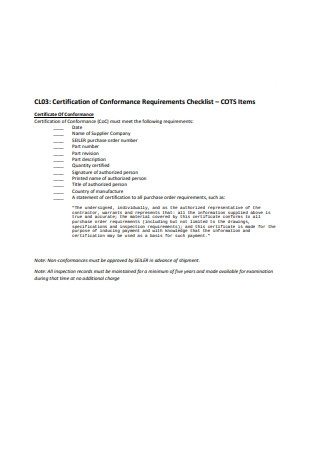 Certificate of Conformance Requirements Checklist