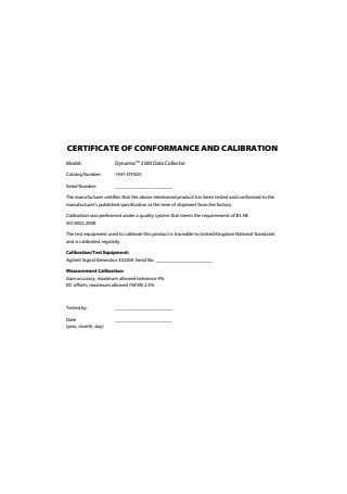 Certificate of Conformance and Calibration