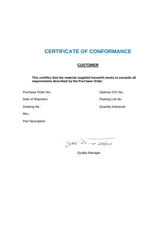 Certificate of Material Conformance Example