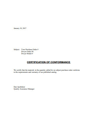 Certificate of Material Conformance Sample
