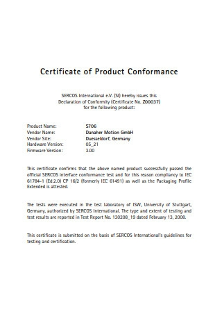 Certificate of Product Conformance Format