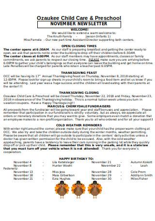 Child Care Preschool Newsletter