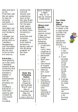 Child Development Lab Preschool Newsletter