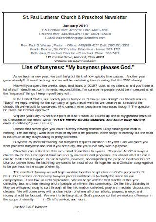 Church Preschool Newsletter