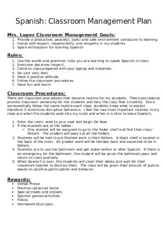 Classroom Management Plan Goals