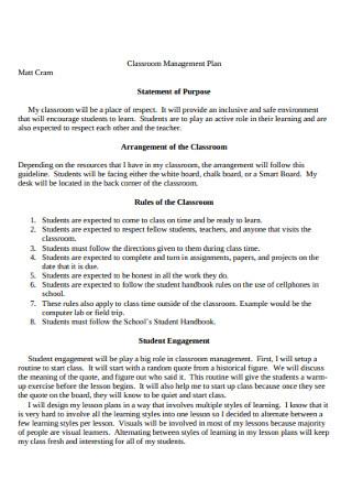 Classroom Management Plan Statement of Purpose