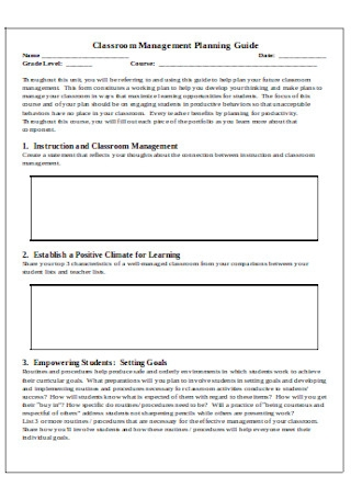 Classroom Management Planning Guide