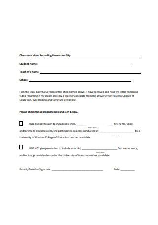 Classroom Video Recording Permission Slip