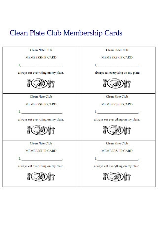 Clean Plate Club Membership Cards