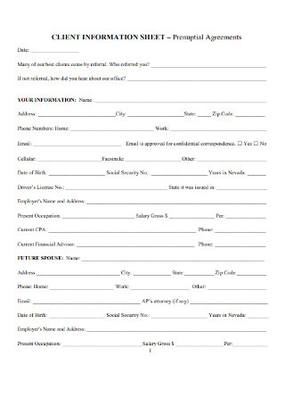 Client Information Prenuptial Agreements Sheet