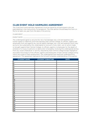 Club Event Hold Harmless Agreement