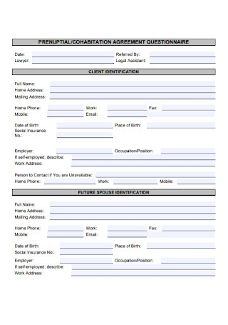 Cohabination Agreement Questionnaire Template