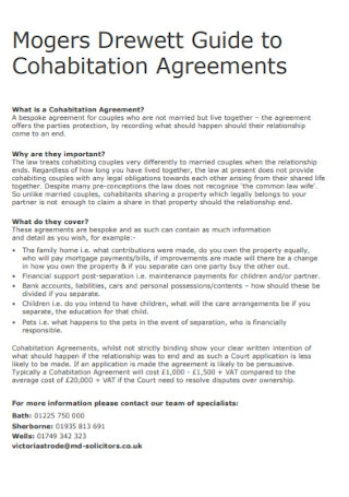 Cohabitation Agreement Format