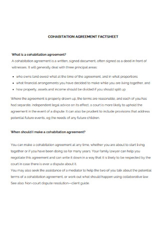 Cohabitation Agreement Worksheet Template