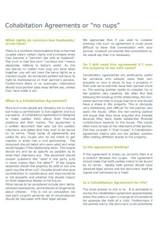 Cohabitation Law Agreements