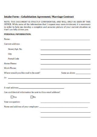 Cohabitation Marriage Contract Agreements