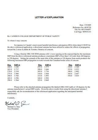 College Letter of Explanation