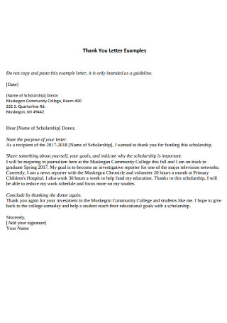 College Thank You letter Template