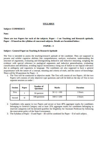 Commerce Subject Syllabus
