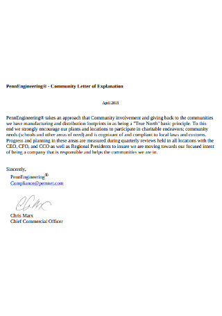 Community Letter of Explanation