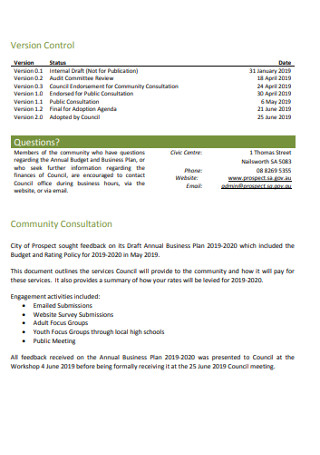 Company Annual Business plan Template
