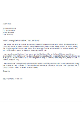 Company Character Reference Letter