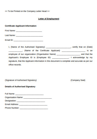 Company Letter of Employment