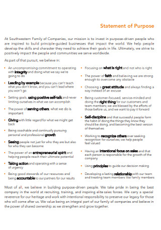 Company Statement of Purpose Template