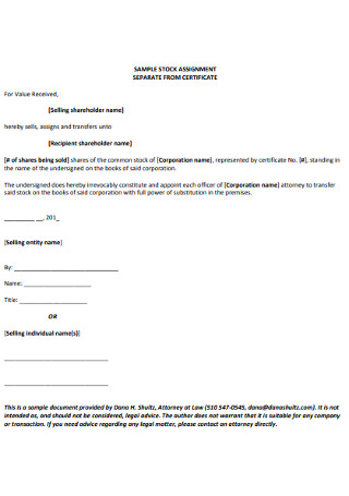 Company Stock Assignment Cerrtificate