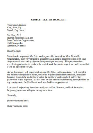 Confirmation Letter of Job Offer