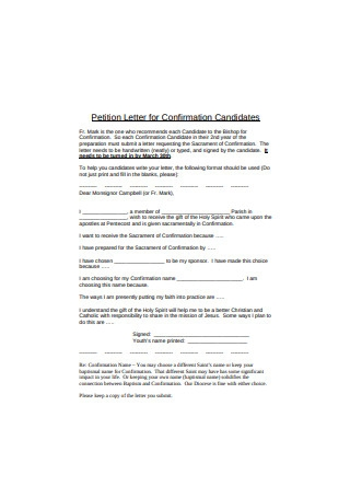 Confirmation Petition Letter