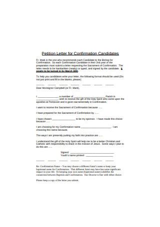 Confirmation Petition Letter