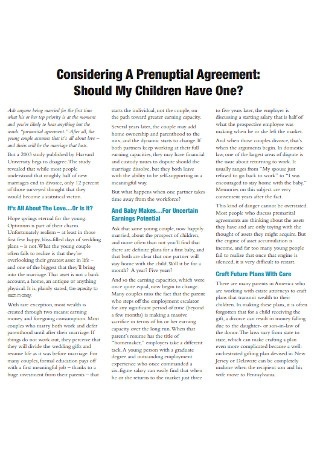 Considering Prenuptial Agreement