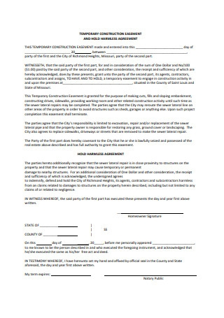 Construction Hold Harmless Agreement Format