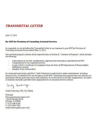 Consulting Transmittal Letter