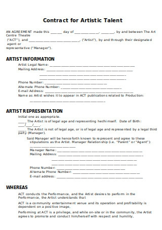Contract for Artistic Talent
