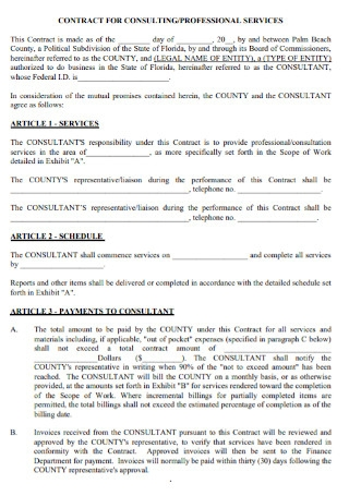 Contract for Consulting Professional Service Template