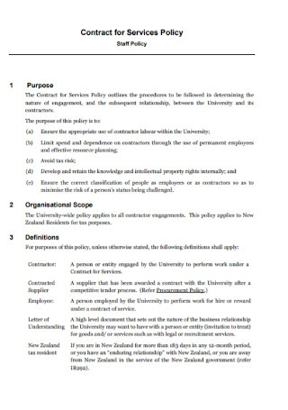 Contract for Services Policy