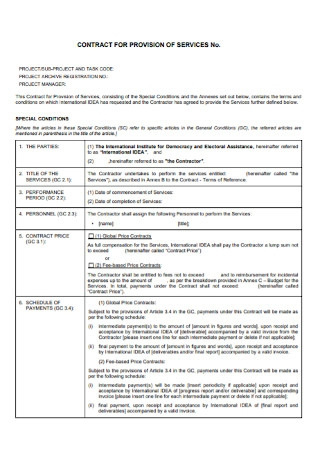 Contract for provision of Service Template