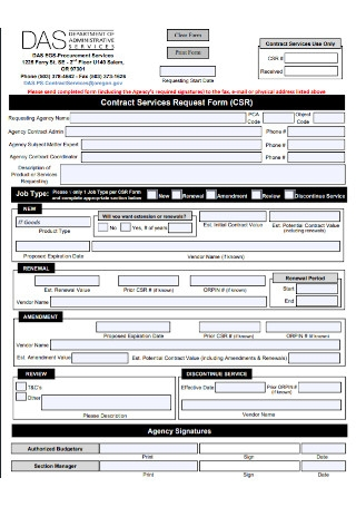 Contract of Service Request Form