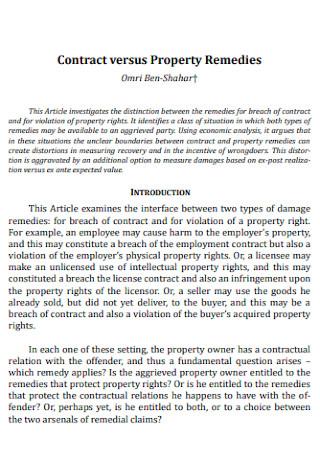 Contract versus Property Remedies