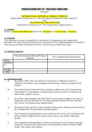 Cooperating Organization Memorandum of Understanding