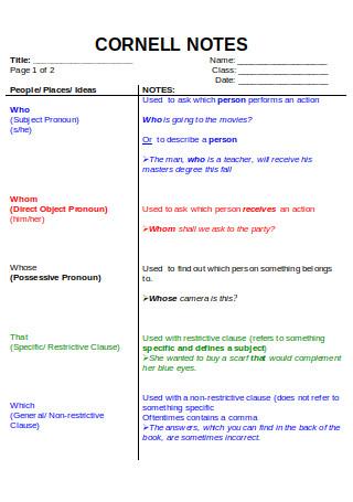 Cornell Notes Grammar
