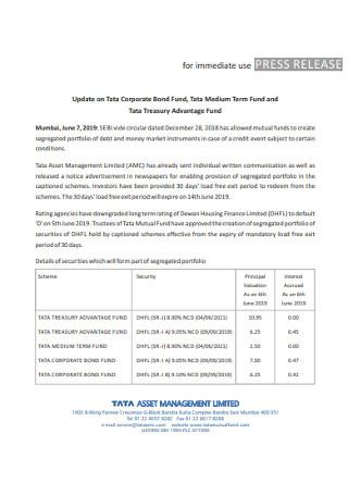 Corporate Immidiate Press Release