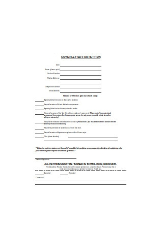 Cover Letter for Petition