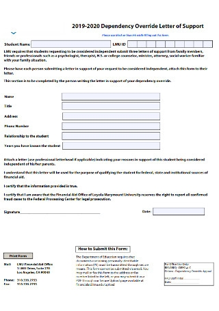 Dependency Override Letter of Support Template