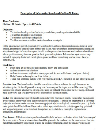 Description of Informative Speech and Outline